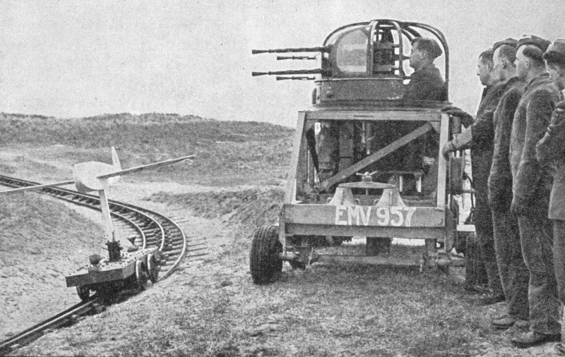 Tain Airfield bombing range - wartime photograph of how the tracked target range operated.
