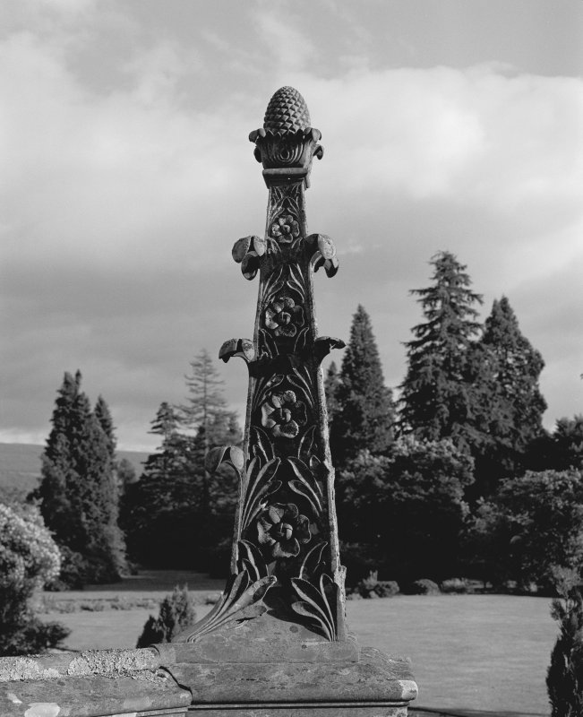 Inveraray Castle. View of ornate obelisk on South-West facade, topped with a pinecone.