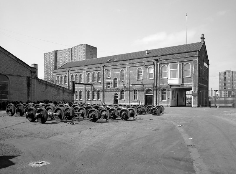 Glasgow, Springburn, St Rollox Locomotive Works. General view from East of St Rollox House.