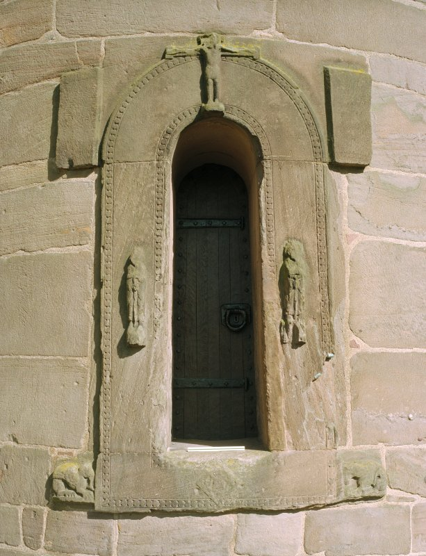 View of tower doorway from W.