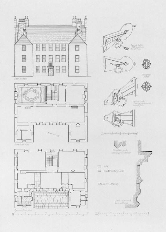 Scanned image of elevation, plans and details showing latches and mouldings.