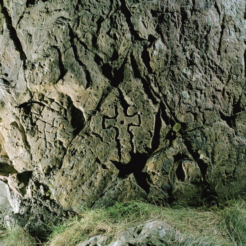 St Ninian's Cave. View of incised cross.