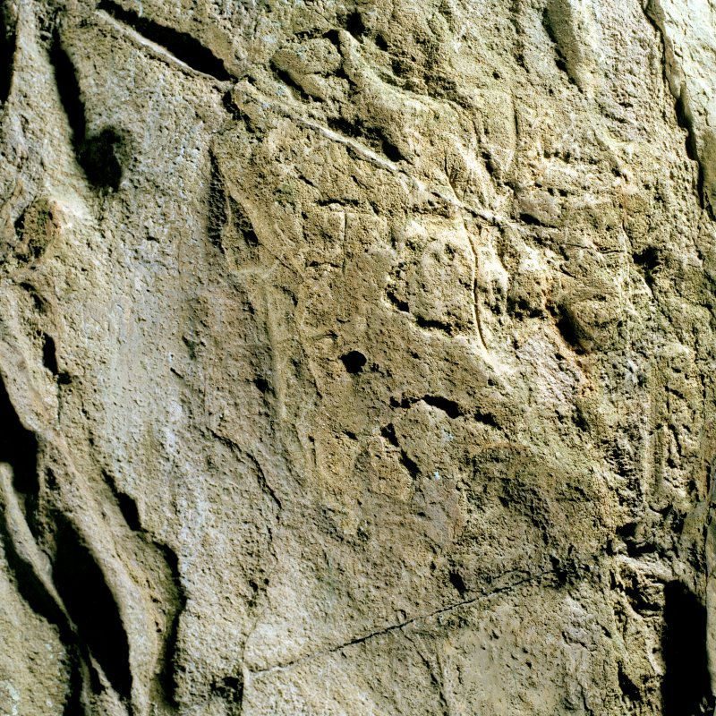 St Ninian's Cave. Detail of incised cross.