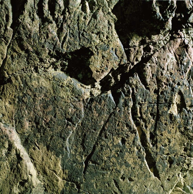 St Ninian's Cave. Detail of incised crosses.
