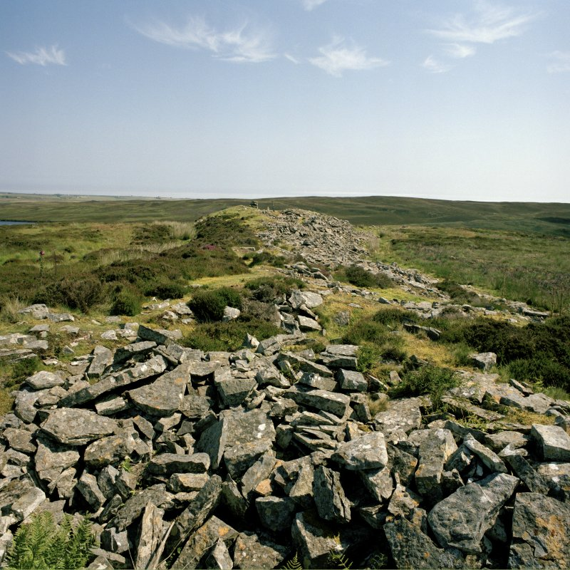 View along cairn from its W end