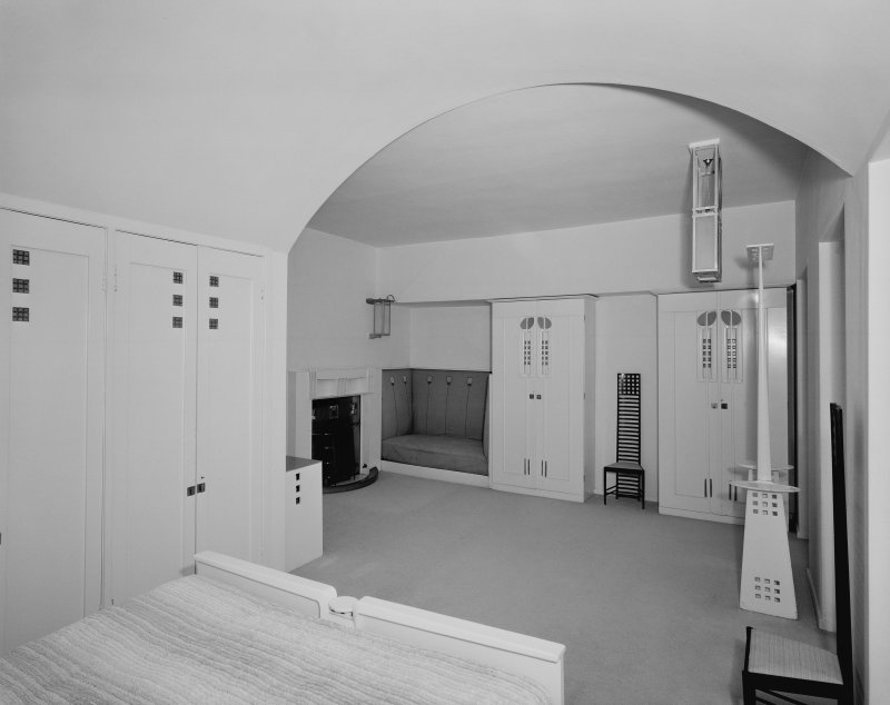 Hill House, interior View of principal bedroom from South West