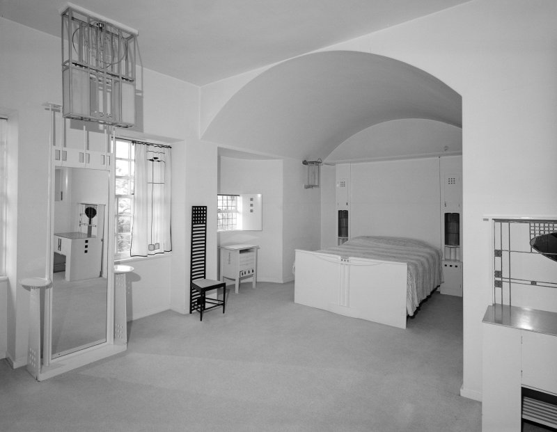 Hill House, Helensburgh. Interior.  View of principal bedroom from NE.