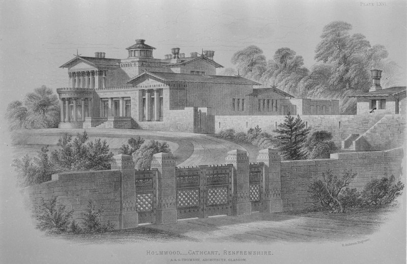 Photographic copy of drawing from Villa and Cottage Architecture showing perspective view. Titled: 'Holmwood, - Cathcart, Renfrewshire  A&G Thomson, Architects, Glasgow  Plate LXVI  R Anderson Engraver  Blackie & Son, Glasgow, Edinburgh & London.'