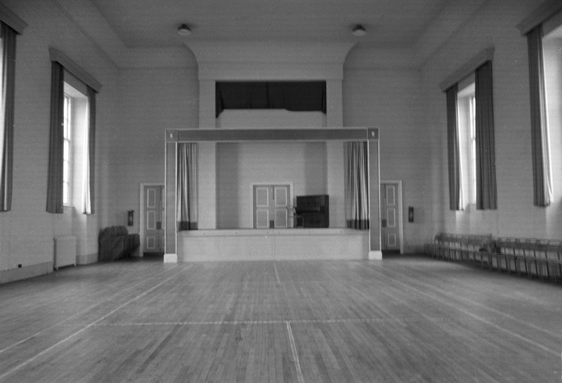 Interior view of Town Hall, Greenlaw, showing hall.