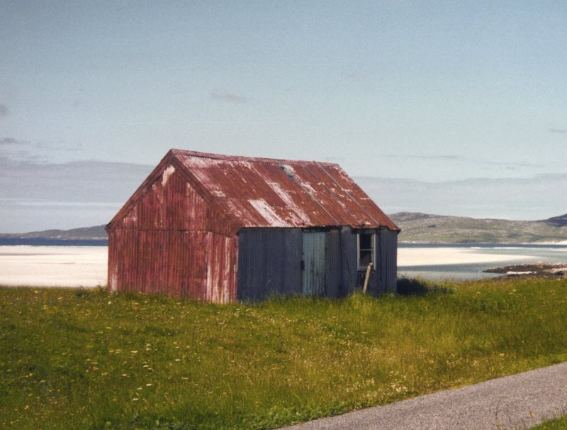 General view of building. Written on reverse: 'Corrugated iron building at Luskentyre Harris'.