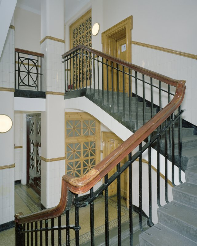 Interior. Ground floor, staircase hall, view from half landing looking up
