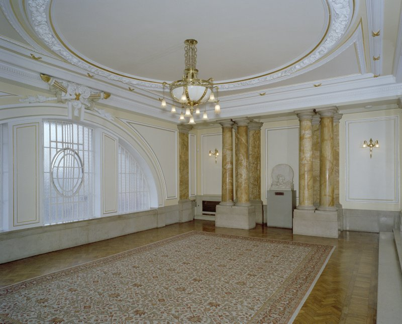 Interior. 1st floor, lobby, view from S