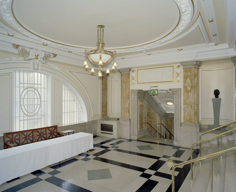 Interior. 1st floor, grand circle lobby, view from S