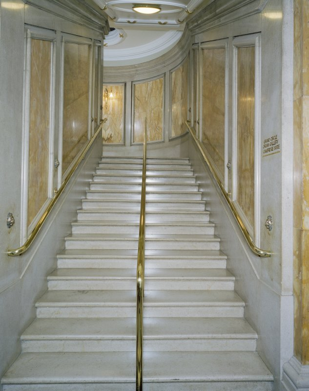 Interior. Ground floor, grand circle foyer, view of stair