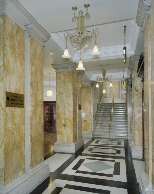 Interior. Ground floor, grand circle foyer, view from N end