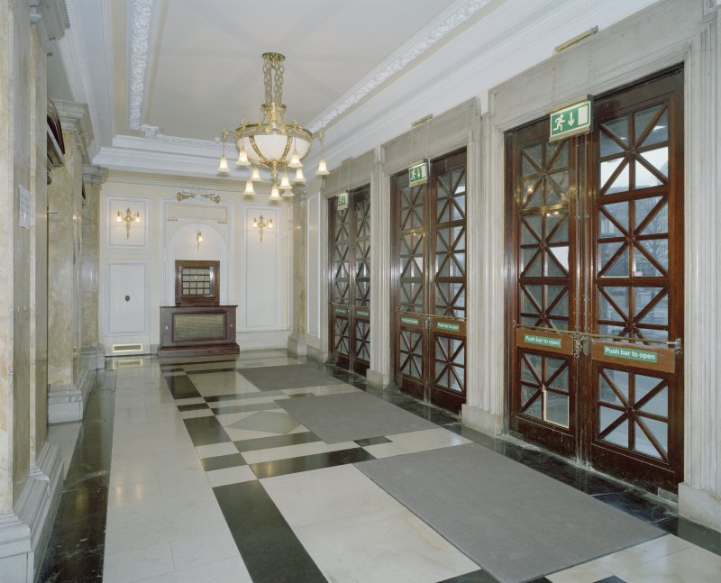 Interior. Ground floor, central entrance lobby, view from E