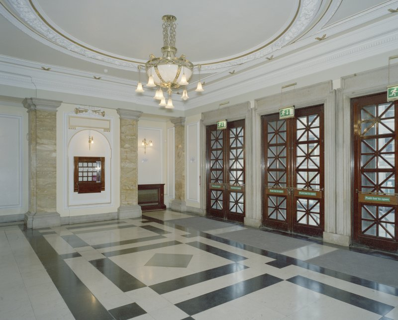 Interior. Ground floor, N entrance lobby, view from SE
