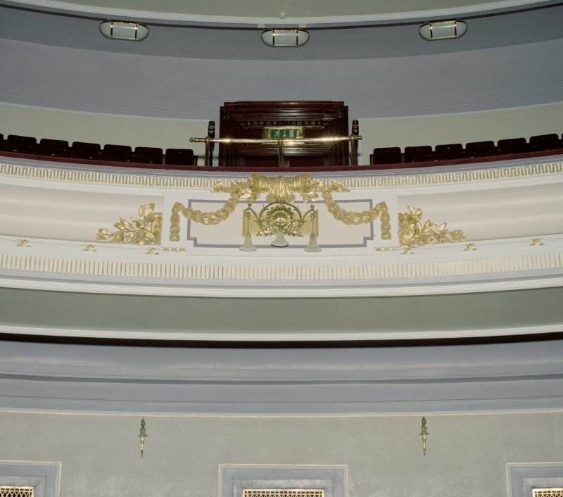 Interior. Auditorium, detail of light and decoration on Upper Circle balcony