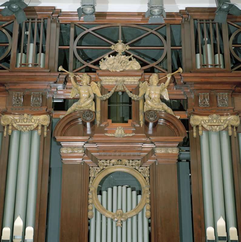 Interior view of Usher Hall, Edinburgh. Auditorium, detail of cherubs above organ