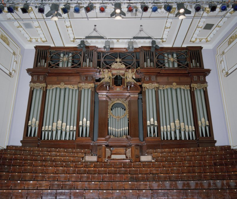 Interior. Auditorium, view of organ  with seating below