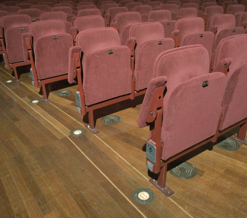 Interior. Auditorium, detail of stall seating