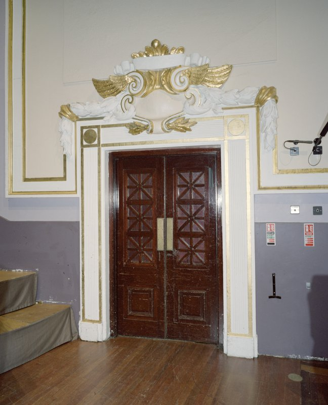 Interior. Auditorium, view of door to stage left