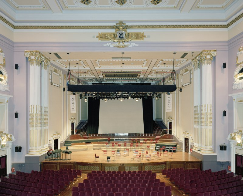 Interior. Auditorium, view of stage from grand circle