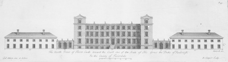 Drawing of North elevation.  Titled: 'The North Front of Floors Castle toward the Court  one of the Seats of His Grace the Duke of Roxburgh In the County of Teviotdale' Engraved: 'Gul Adam inv:et delin:'  'R.Cooper Sculp.'