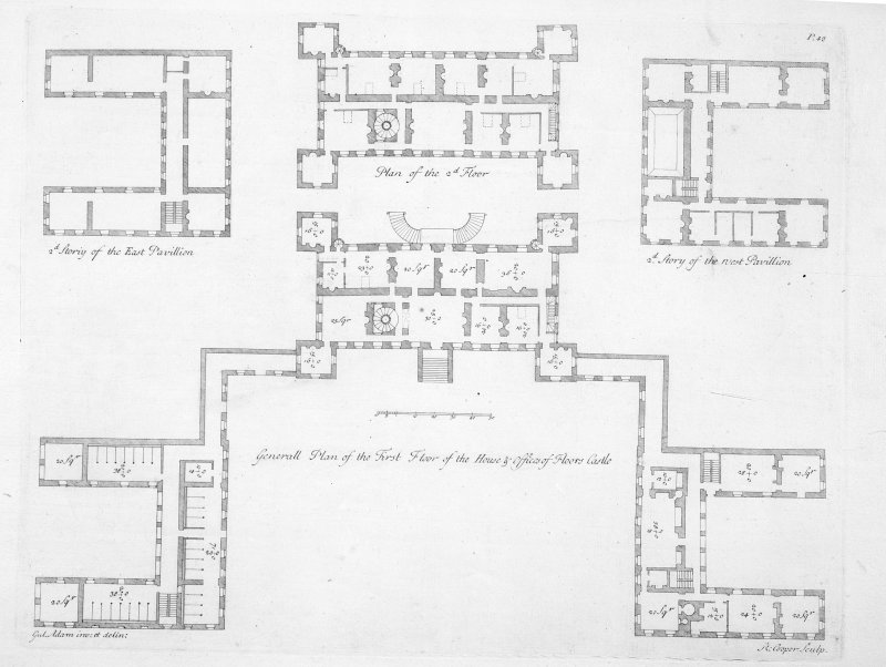 Drawing showing first and second floor plans.  Titled: 'General Plan of the First Floor of the House & Offices of Floors Castle', 'Plan of the 2nd Floor', '2nd Storiy of the East Pavillion' and '2nd Story of the West Pavillion' Engraved: 'Gul.Adam inv:et delin:'  'R.Cooper. Sculp.'