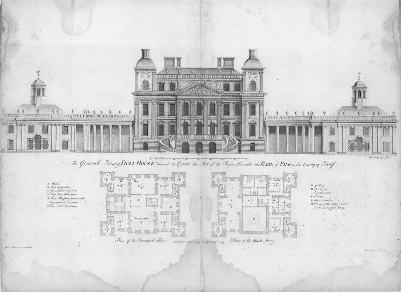 "Engraving showing elevation to court. Insc: ""The Generall Front of Duff House toward the Court the Seat of the Right Honourable the Earl of Fife in the County of Banff. Gul: Adam im : et delin. R: Cooper, Sculp''."