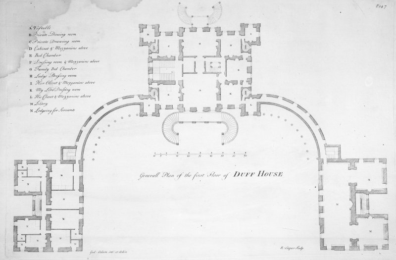 "Engraving showing general first floor plan. Insc: ""Generall Plan of the first Floor of Duff House. Gul: Adam im : et delin. R: Cooper, Sculp''."