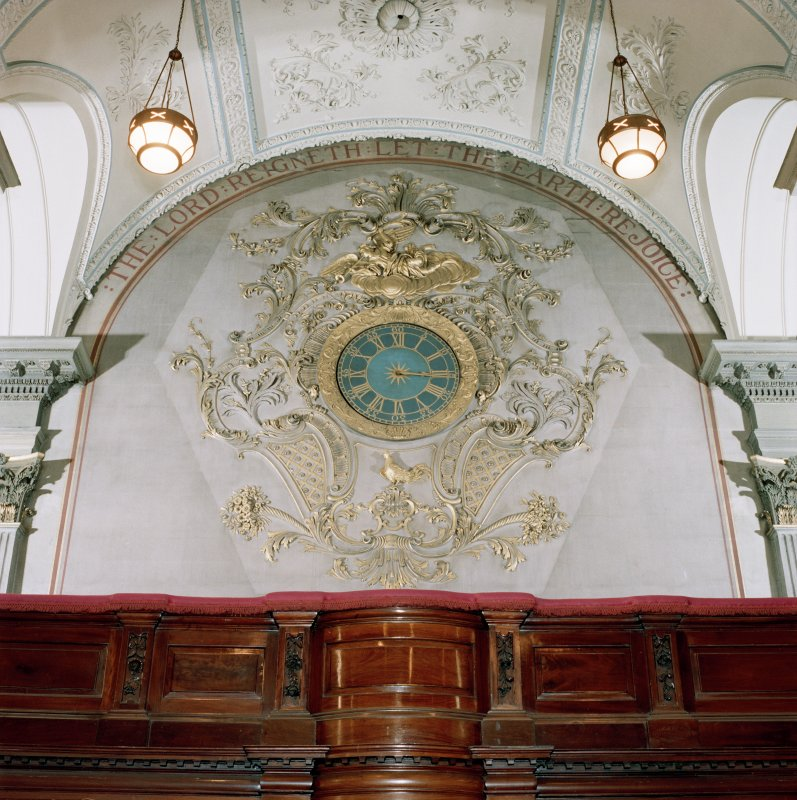 St Andrew's Church, interior View of clock and decoration at balcony level, North West end