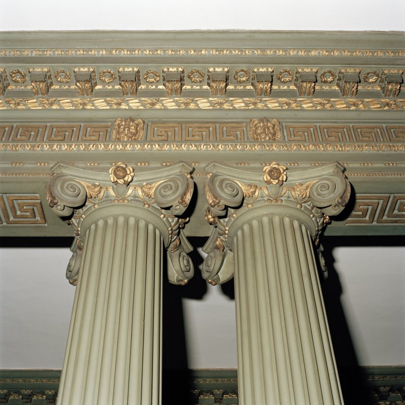 Detail of dining room column capitals in Newhailes, East Lothian.