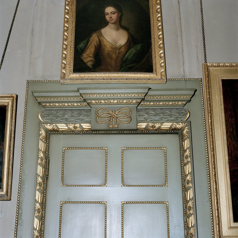 Interior. Detail of door surround in the W Drawing room.