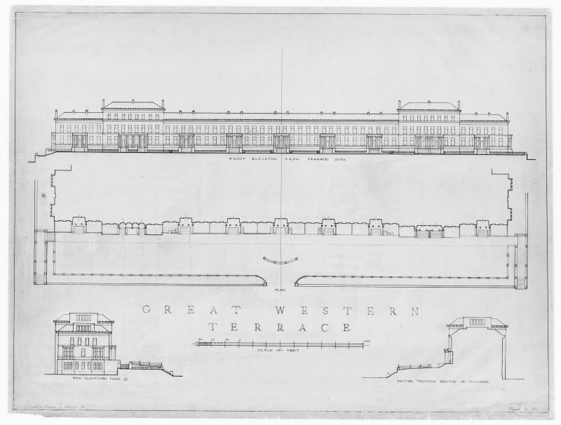 "Photographic copy of 1"":16' pen and ink tracing of front and side elevations and section original titled: 'Great Western Terrace  Front elevation from terrace level  Side elevation from A  Section through centre of terrace  Measured & Drawn by AFS, EC, WL  Traced by WL'."
