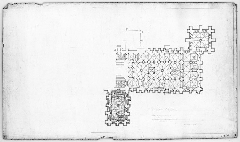 "Photographic copy of pen and ink 1"":8' plan of lower church."