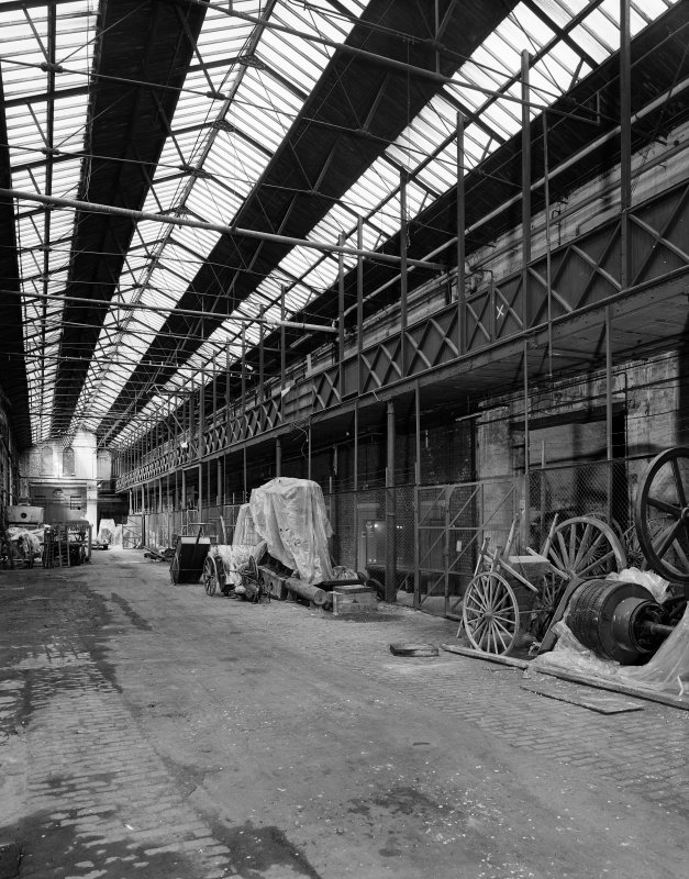 Glasgow Museum of Transport, interior. View of main stable bay showing walkway from East.