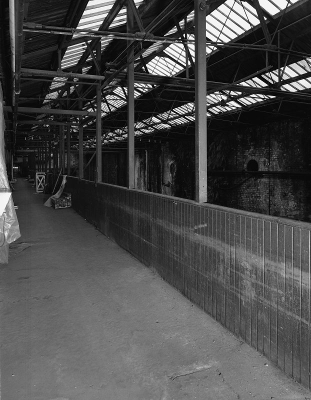Glasgow Museum of Transport, interior. View along walkway in stable block from West.