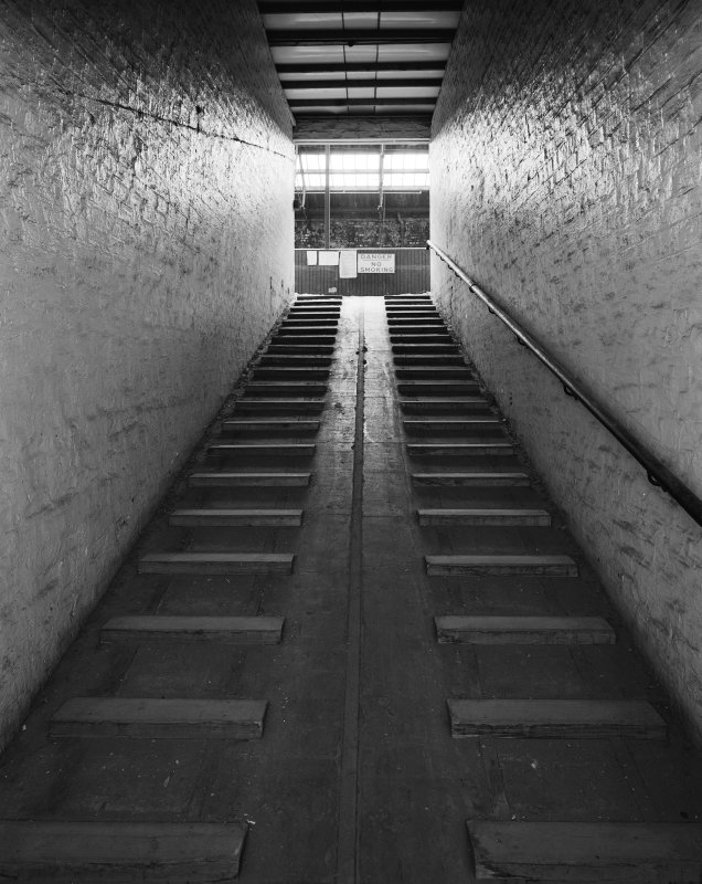 Glasgow Museum of Transport, interior. View of ramp from ground level position in Stable block.