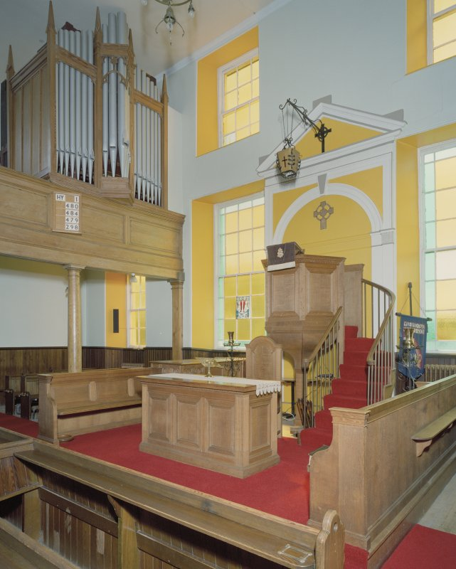 Interior. View from NW showing pulpit and organ