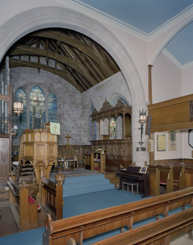 Interior. View of chancel showing pulpit and Forbes-Leith Loft