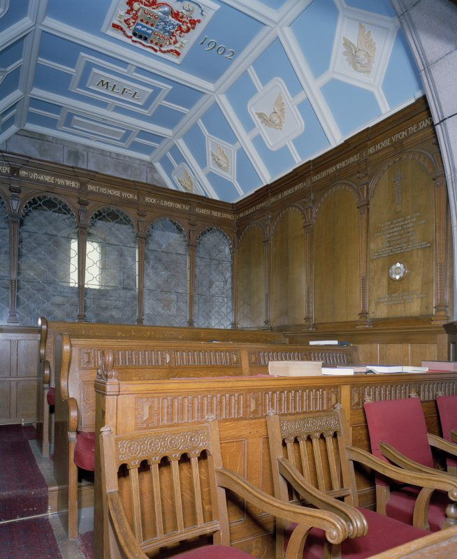 Interior. View of Forbes-Leith Loft interior including heraldic ceiling and seating
