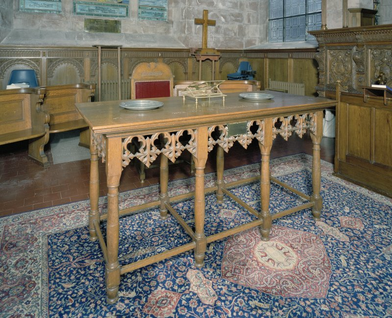 Interior. Detail of communion table