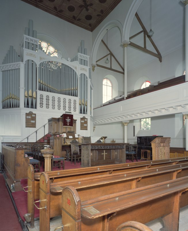 Interior. View from SE showing gallery, pulpit and organ