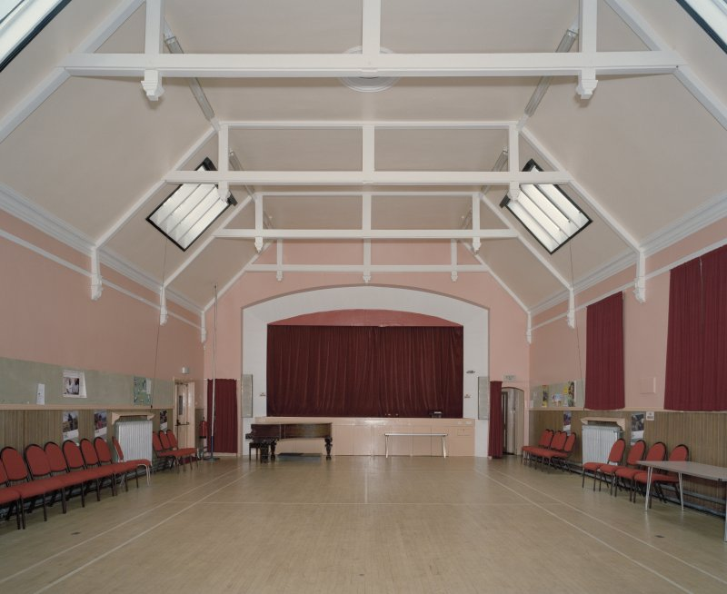 Interior. View of church hall looking towards the stage