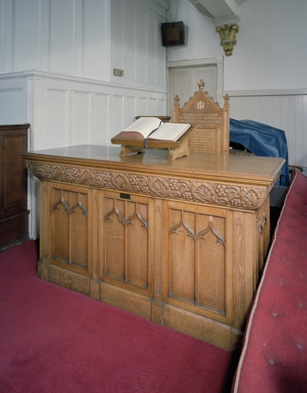 Interior. Detail of communion table from Gilcomston Parish Church