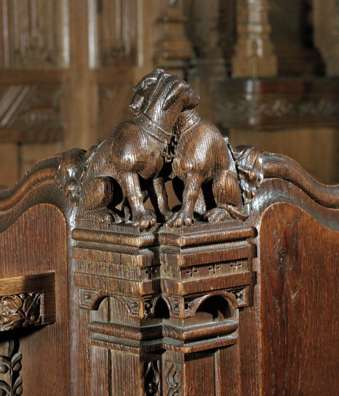 Thistle Chapel. Interior. Detail of pair of carved animal figures