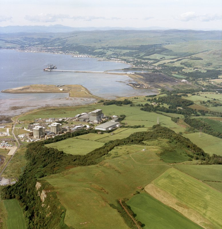 General oblique aerial view looking across the electricity generating station towards the ore terminal, Fairlie and Largs, taken from the SSW.