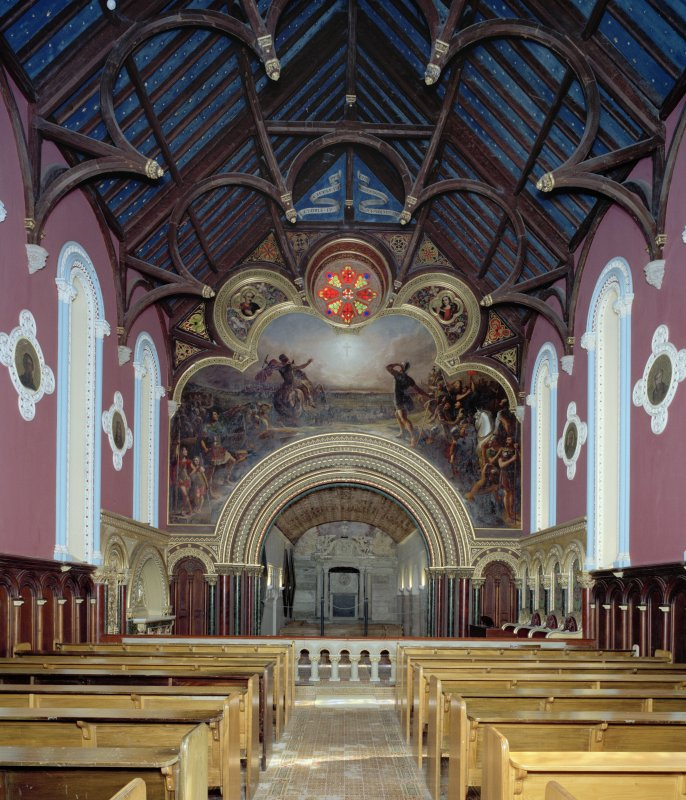 Interior, view from W showing mural depicting the Vision of Constantine
