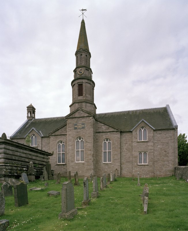 "View of Church with tower and spire from SE with inscription ""ERECTED BY PUBLIC SUBSCRIPTION MDCCCXXVI"""
